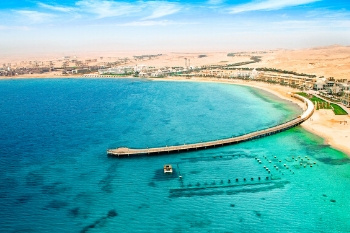 Strand der Red Sea Hotels in Sahl Hasheesh am Roten Meer