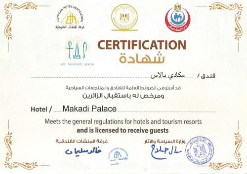 Sicherheitszertifikat vom Makadi Palace Hotel in Makadi Bay
